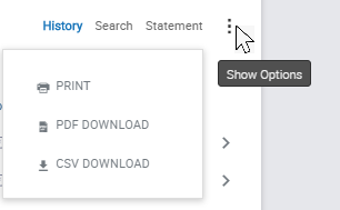 Screenshot of print option for transactions